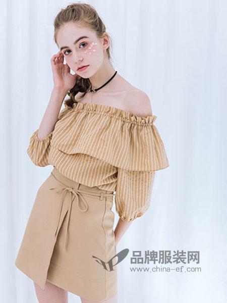 红馆女装黄色条纹一字肩T恤