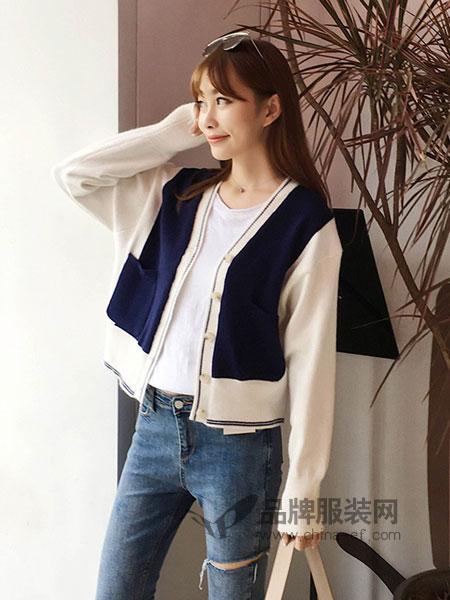 涵香HanX女装针织衫女短款外搭毛衣女宽松外套