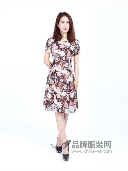 武汉惠品女装2018春夏新款斜V领修身中长雪纺印花连衣裙