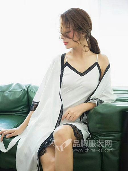 名之品创内衣2018春夏两件套吊带蕾丝拼接性感V领睡衣