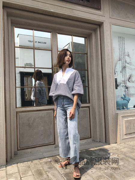海玲女装2018春夏新品纯棉宽松直筒喇叭袖条纹女士衬衣