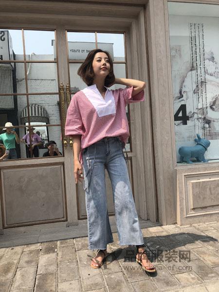 海玲女装2018春夏八分牛仔原宿风大码港味直筒裤