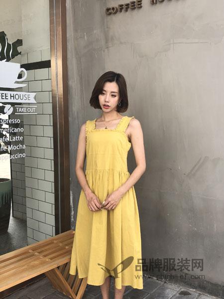 海玲女装2018春夏纯色简约文艺娃娃连衣裙背心裙