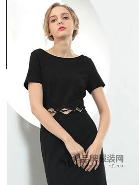 佰莉衣橱运动情侣装2018春夏极简修身收腰A字连衣裙