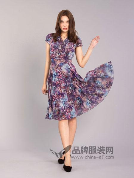 伊乐闻女装2018春夏短袖修身显瘦桑蚕丝百褶印花连衣裙
