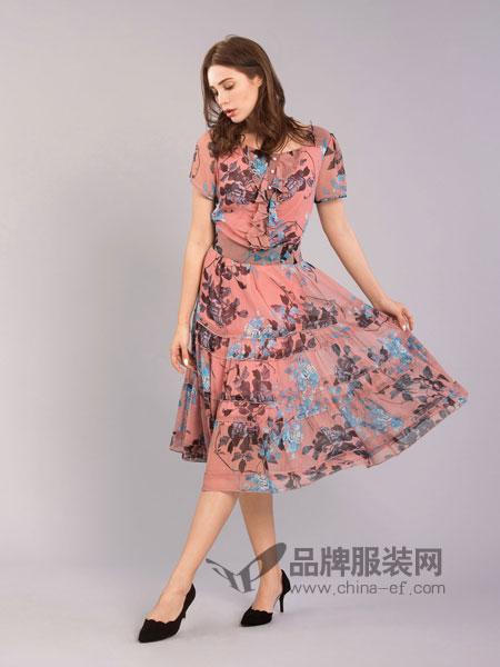 伊乐闻女装2018春夏气质淑女喇叭袖收腰木耳边不规则裙