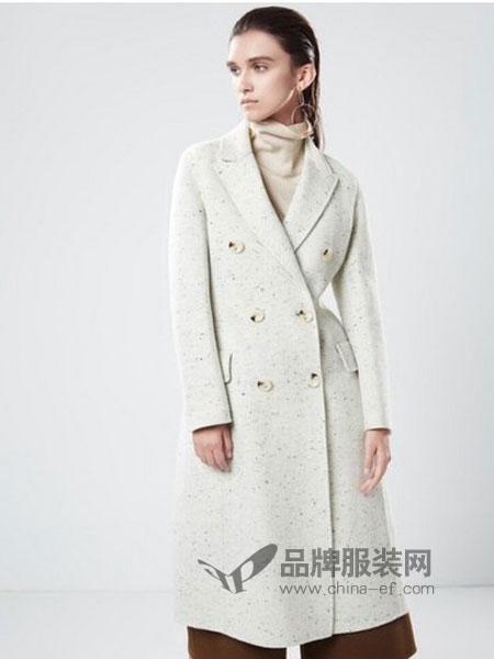 漫思雅女装2018秋冬高端宽松双面绒零双面羊绒大衣女