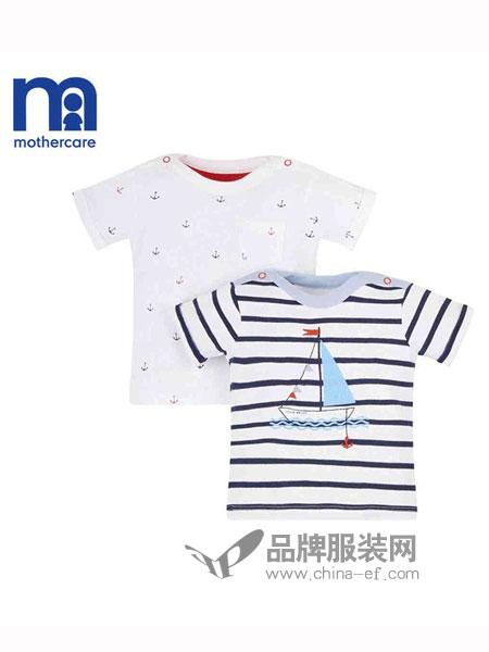 mothercare童装2018春夏女童宝宝全棉褶边条纹上衣T恤