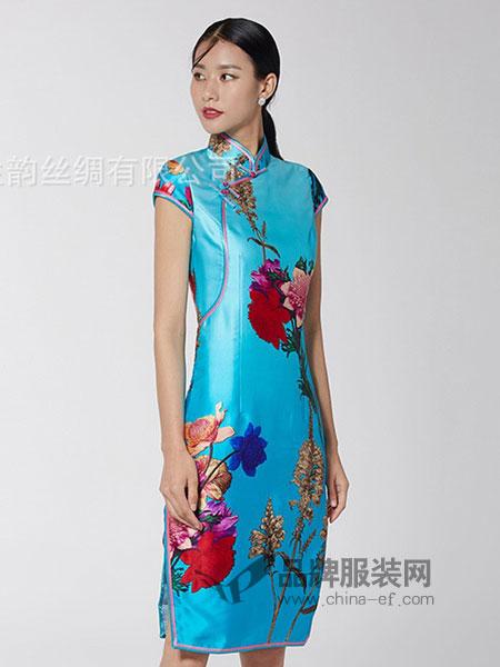 生生韵丝绸女装2018春夏桑蚕丝旗袍连衣裙 印花显瘦女装