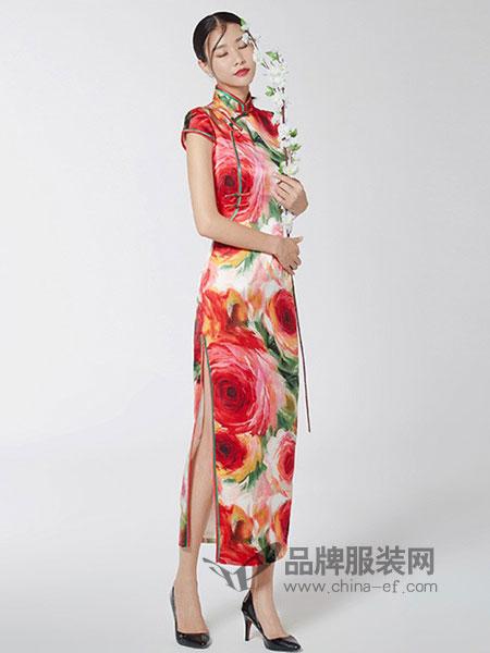 生生韵丝绸女装2018春夏气质复古旗袍桑蚕丝经典印花优雅包臀裙