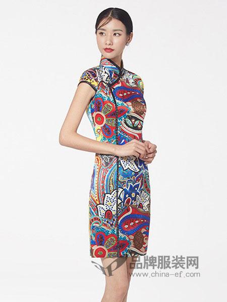 生生韵丝绸女装2018春夏显瘦复古修身时尚性感日常桑蚕丝连衣裙