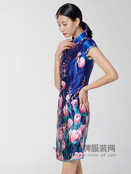 生生韵丝绸女装2018春夏少女丝绸印花时尚优雅复古名媛中裙