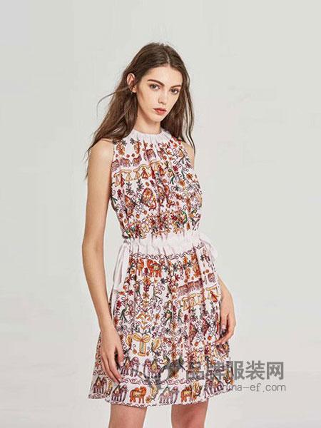 CAYLAR女装2018春夏淑女抽绳系带印花连衣裙