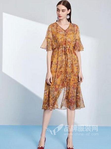 卡尔丽丝雅女装2018春夏韩版中长款高腰显瘦喇叭袖裙子潮