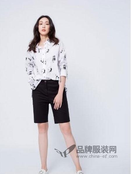 伊洛Iroo女装2018春夏韩范印花雪纺衬衫 宽松长袖上衣女