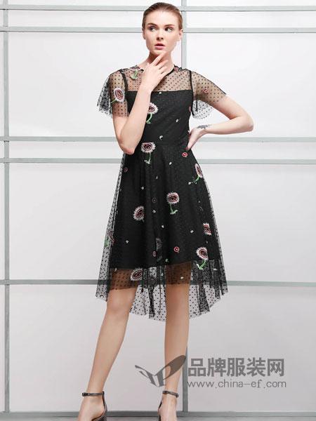 艺梦来女装2018春夏黑色网纱蕾丝绣花荷叶飞飞袖修身显瘦连衣裙