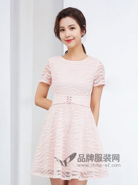 金苑女装2018春夏气质优雅修身女裙蕾丝绑定圆领连衣裙