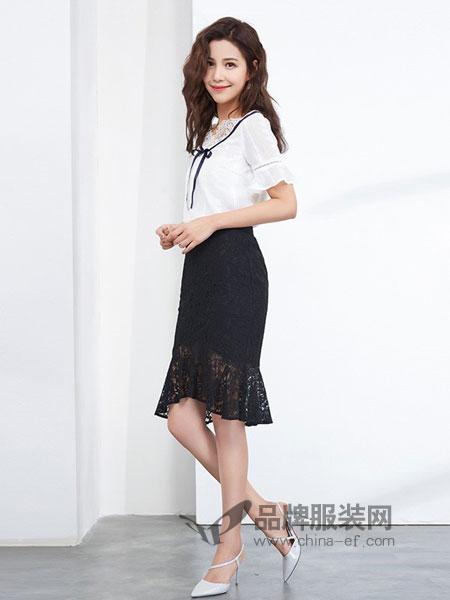 金苑女装2018春夏镂空蕾丝半身裙修身显瘦黑色包臀裙鱼尾裙