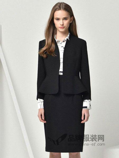 HRH女装2018春夏修身长袖气质通勤新品纯色立领外套