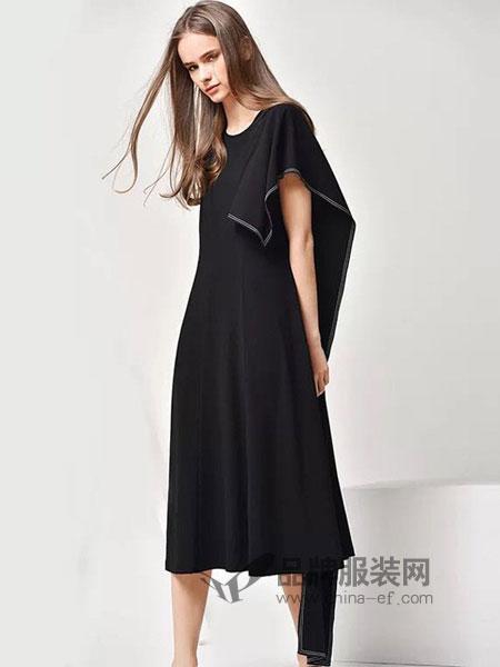 HRH女装2018春夏纯色修身显瘦遮肉收腰无袖中长款连衣裙