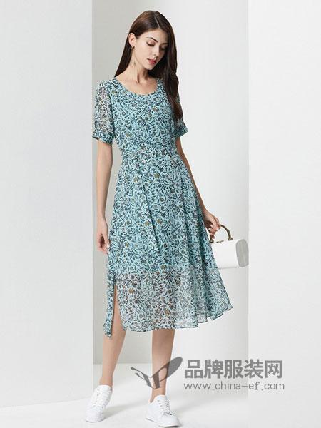 粉蓝女装2018春夏新款显瘦系带连衣裙中长款