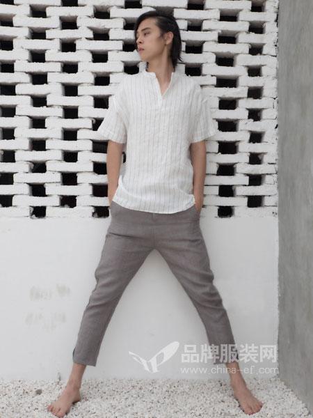 韩仕男装2018春夏新款立领免烫修身五分袖棉麻半袖衬衣