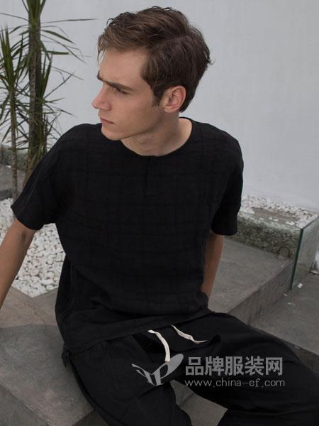 韩仕男装2018春夏韩版修身打底线衣纯色提花款冰丝半袖潮