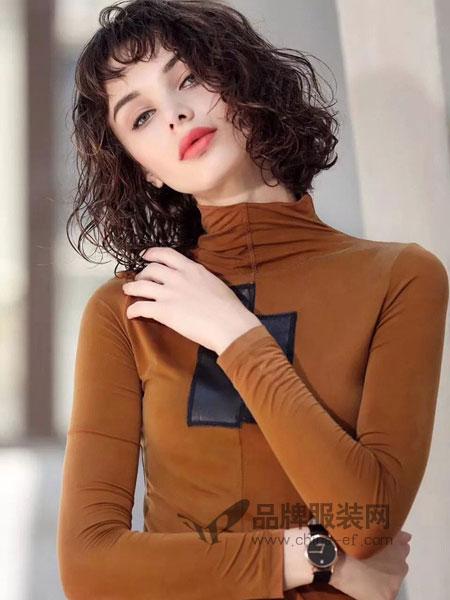 艾达禾女装2018秋冬桑蚕丝拼接牛皮上衣 流须双色拼接毛衣长外套