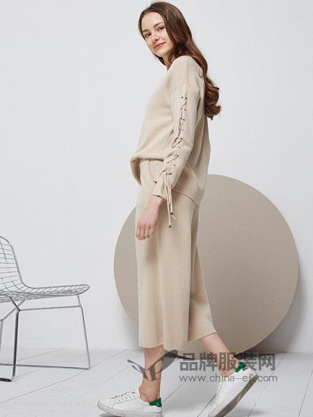 紫淑女装2018春夏长袖圆领针织上衣 休闲宽松针织裤