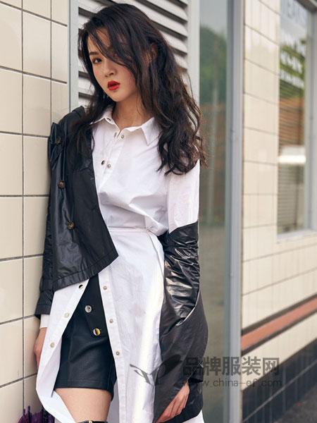 路尼裟女装2018秋季纯棉宽松版白衬衣潮牌定制款