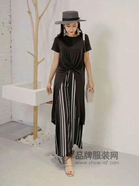 粤韵女装2018春夏气质条纹时髦连体衣时尚蕾丝高腰阔腿连体裤