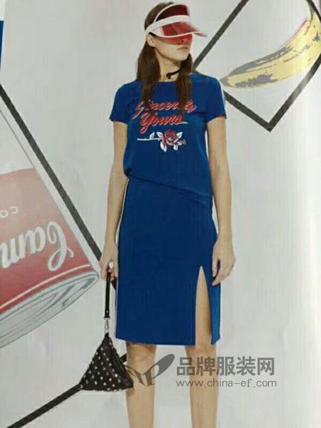 粤韵女装2018春夏新款韩版显瘦中长裙不规则连衣裙裙