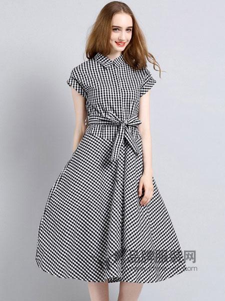 法妮女装2018春夏新款连衣裙全棉格子裙子收腰显瘦气质潮