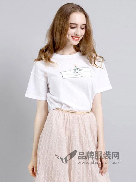 法妮女装2018春夏新款短袖T恤棉打底衫宽松显瘦潮百搭