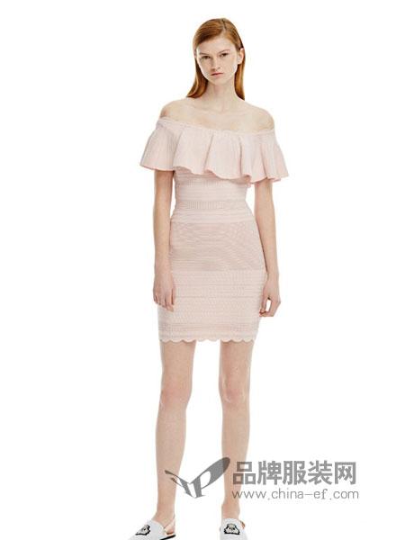 似我 COMME MOI女装2018春夏休闲一字领粉色收腰裹半身裙