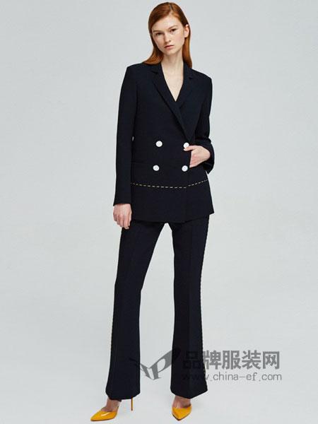 似我 COMME MOI女装2018春夏双排扣西装喇叭裤时尚个性套装