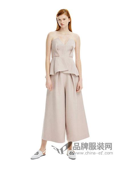 似我 COMME MOI女装2018春夏时尚不规则短款吊带上衣高腰直简阔腿裤套装