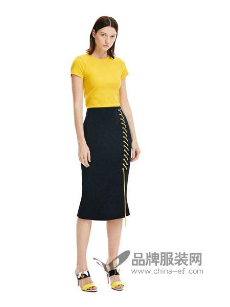 似我 COMME MOI女装2018春夏新款休闲编织装饰鱼尾半身裙包臀开衩裙