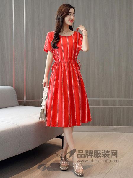零五七一世家女装2018春夏条纹连衣裙收腰显瘦中长款短袖气质裙