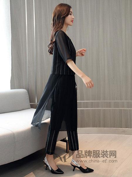 零五七一世家女装2018春夏条纹圆领短袖上衣配直筒长裤女士新款