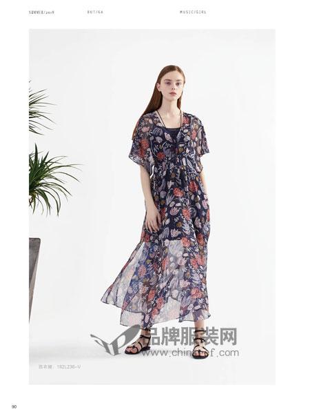 BUT(布同)女装2018春夏新款气质韩版显瘦喇叭袖裙潮
