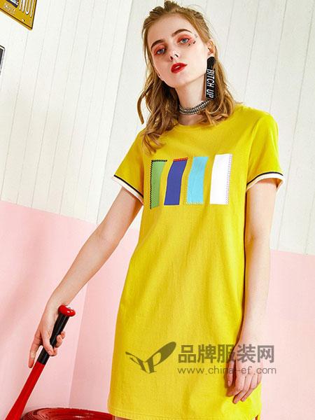 洛呗一女装2018春夏新款黄色长T恤宽松百搭打底衫女士连衣裙