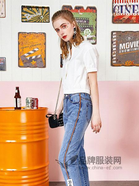 洛呗一女装2018春夏高腰直筒牛仔裤九分裤修身显瘦