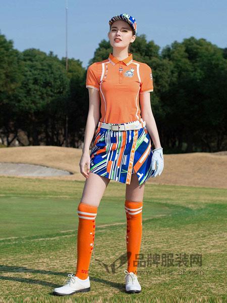尚约高尔夫女装2018春夏不规则条纹印花半裙时尚靓丽花色运动裙
