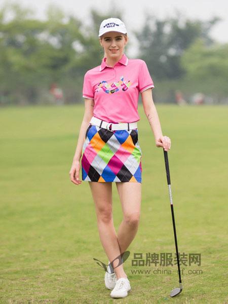 尚约高尔夫女装2018春夏高尔夫时尚格子修身短裙A字半身裙休闲运动