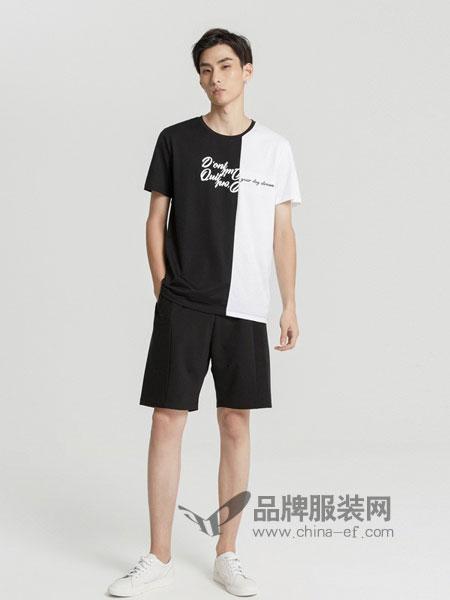 米安斯迪休闲2018春夏新款黑白拼接撞色字母印花纯棉短袖T恤