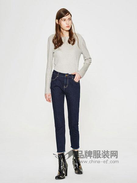 米安斯迪休闲2018春夏新款修身知性纯棉休闲牛仔裤长裤蓝色