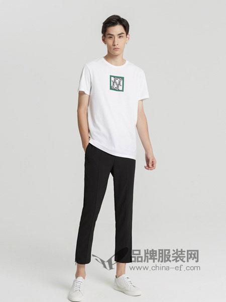 米安斯迪休闲2018春夏新款胸前字母撞色印花纯棉短袖T恤潮