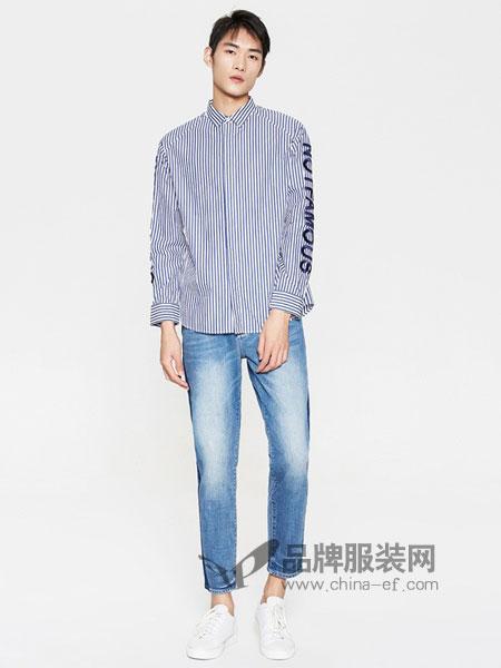 米安斯迪休闲2018春夏新款竖条纹字母刺绣纯棉长袖衬衫