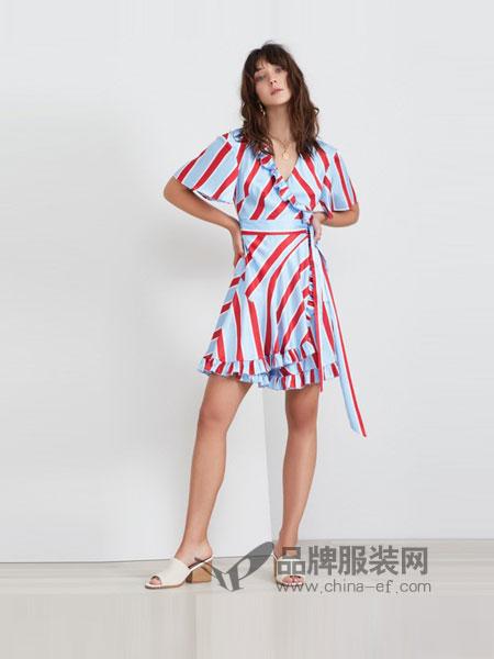 KEEPSAKE女装2018春夏气质款收腰 荷叶边下摆连衣裙
